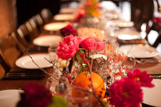 Fall wedding on Halloween- fall wedding flowers and wedding reception table