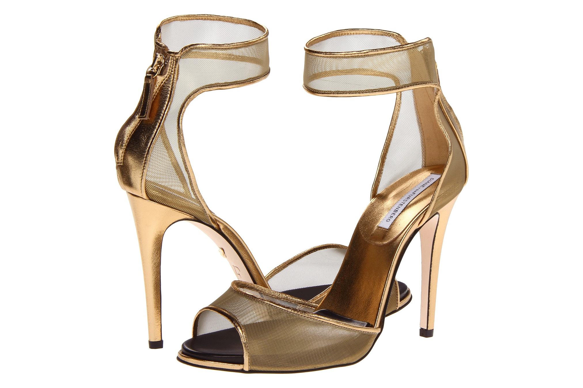 Glamorous gold wedding shoes DVF mesh | OneWed.com