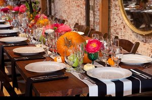 photo of Fall wedding on Halloween- reception tablescape
