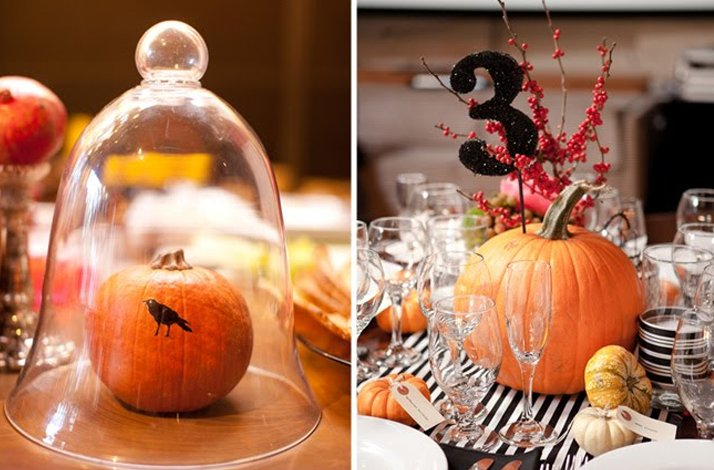 Fall wedding on Halloween- reception decor, centerpieces