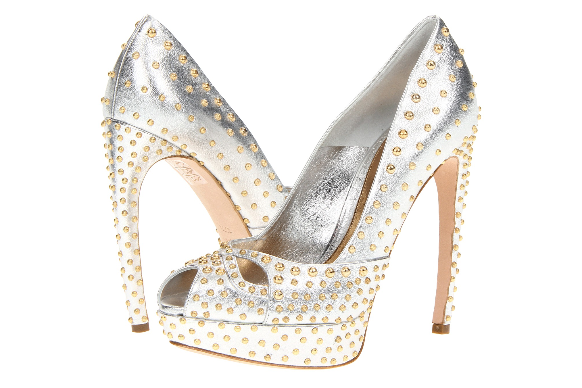 Glamorous gold wedding shoes Alexander McQueen | OneWed.com