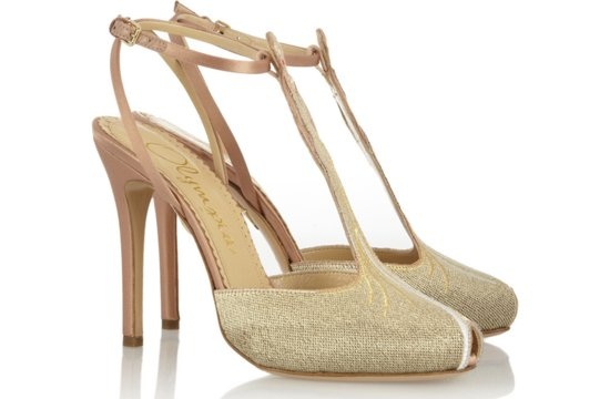 Gold and blush wedding shoes by Charlotte Olympia