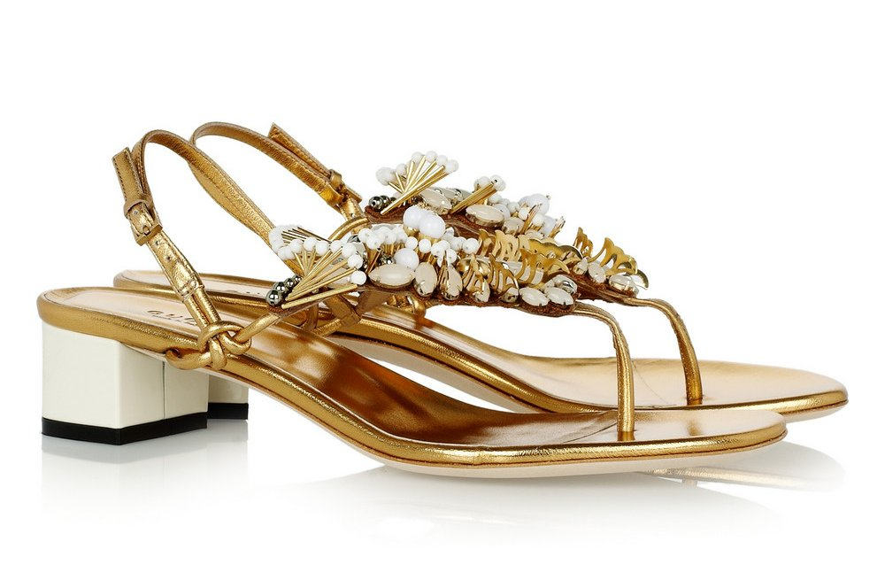 Gold embellished bridal sandals by Gucci