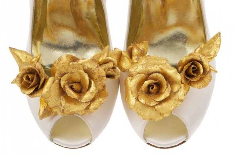 Freya Rose Ivory Wedding Shoes With Gold Flowers