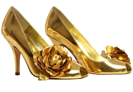 photo of 25 Pairs of Golden Wedding Shoes