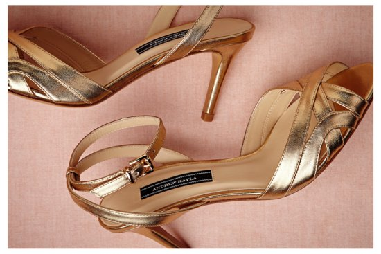 Goldleaf peep toe wedding shoes by BHLDN