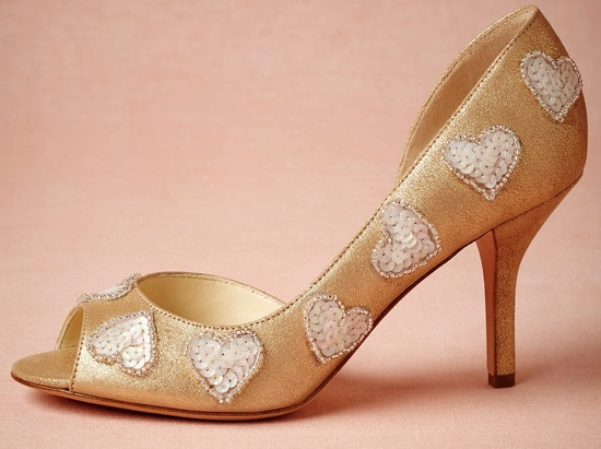 heart embellished gold wedding shoes