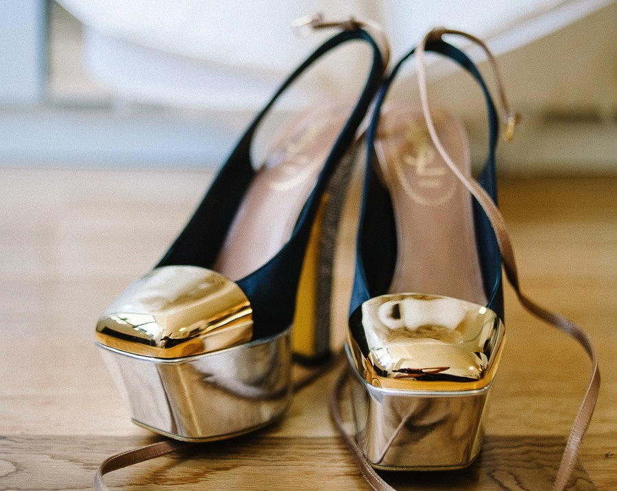 Gold And Black Ysl Wedding Shoes