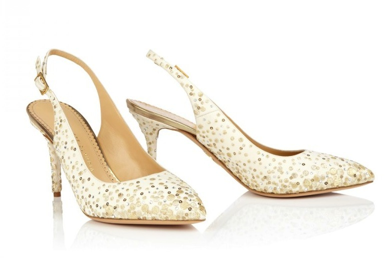 slingback wedding shoes with gold sparkles
