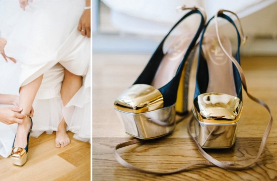 gold and black wedding shoes by YSL