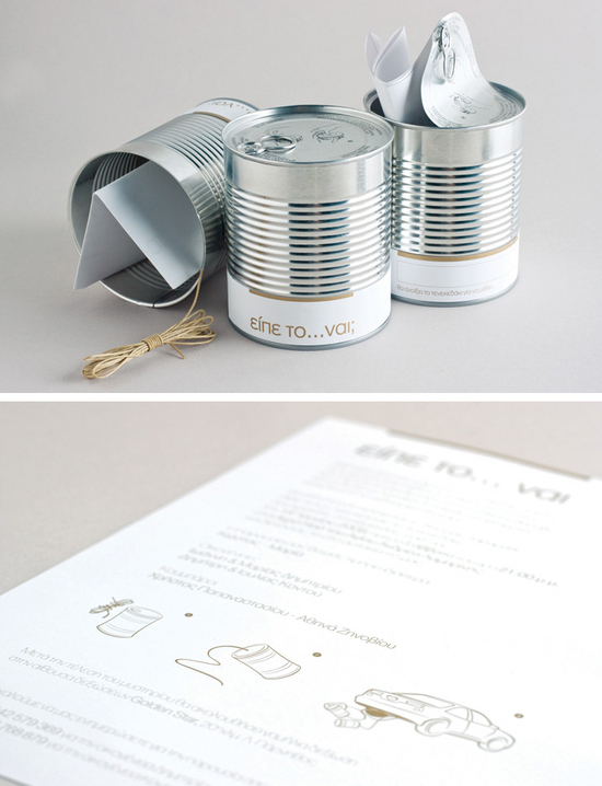 Interactive canned wedding invitation from Greece