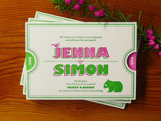 slide ticket wedding invitations in modern green and pink
