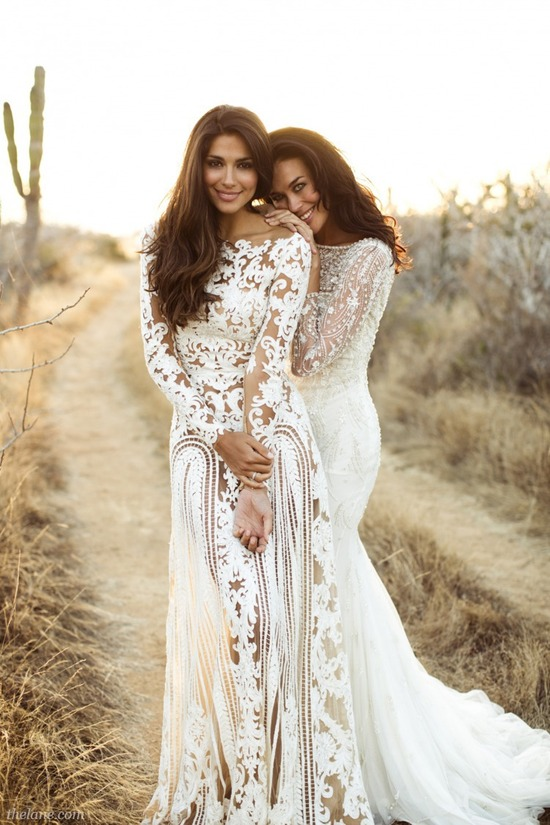 photo of lace peekaboo wedding dresses for exotic brides