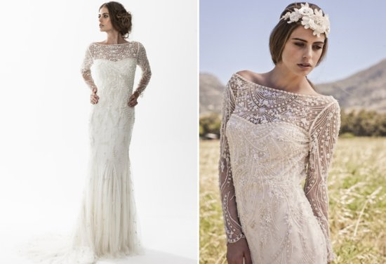 Bo and luca beaded sleeved wedding dress