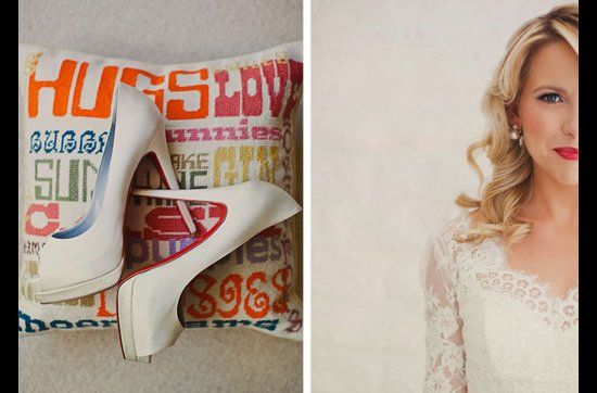 Bride wears Christian Louboutin wedding heels, retro red lips
