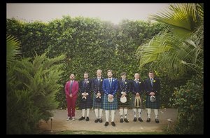 photo of California groom wears Scottish kilt