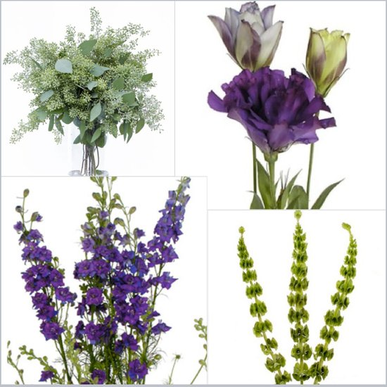 Purple DIY wedding flower arrangements