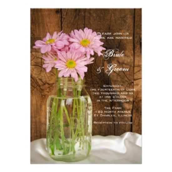 one wed pink daisies mason jar