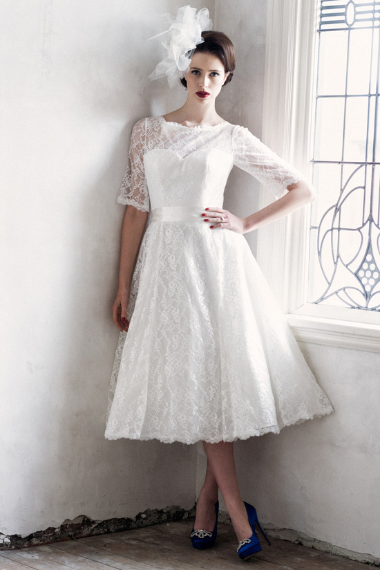 Wedding Dress With Tea Length Hem And 3 Quarter Sleeves