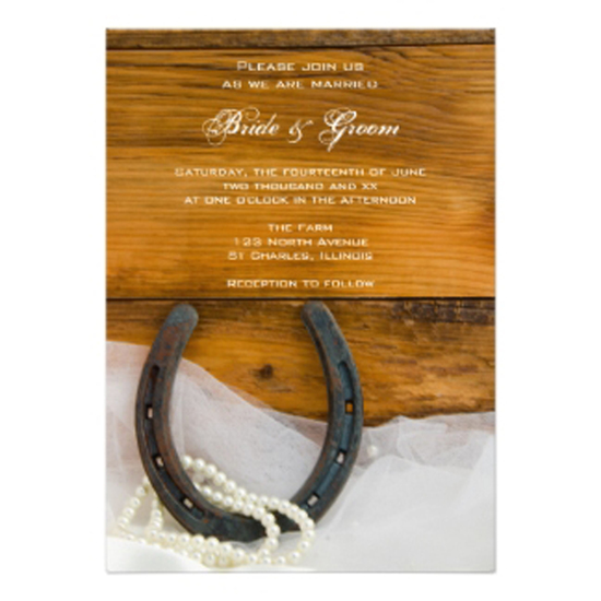 one wed horseshoe pearls barn wood