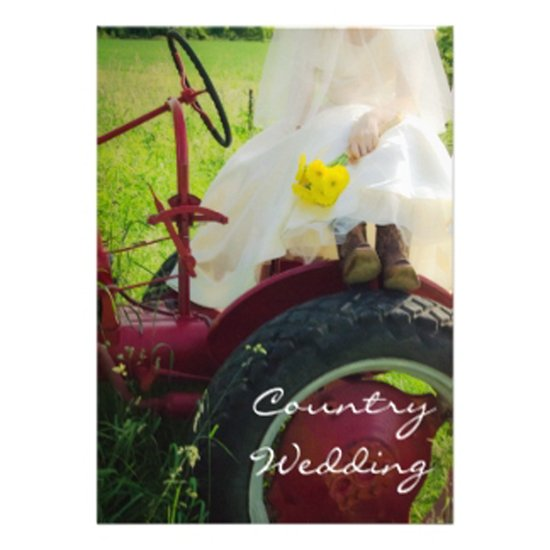 one wed bride on tractor