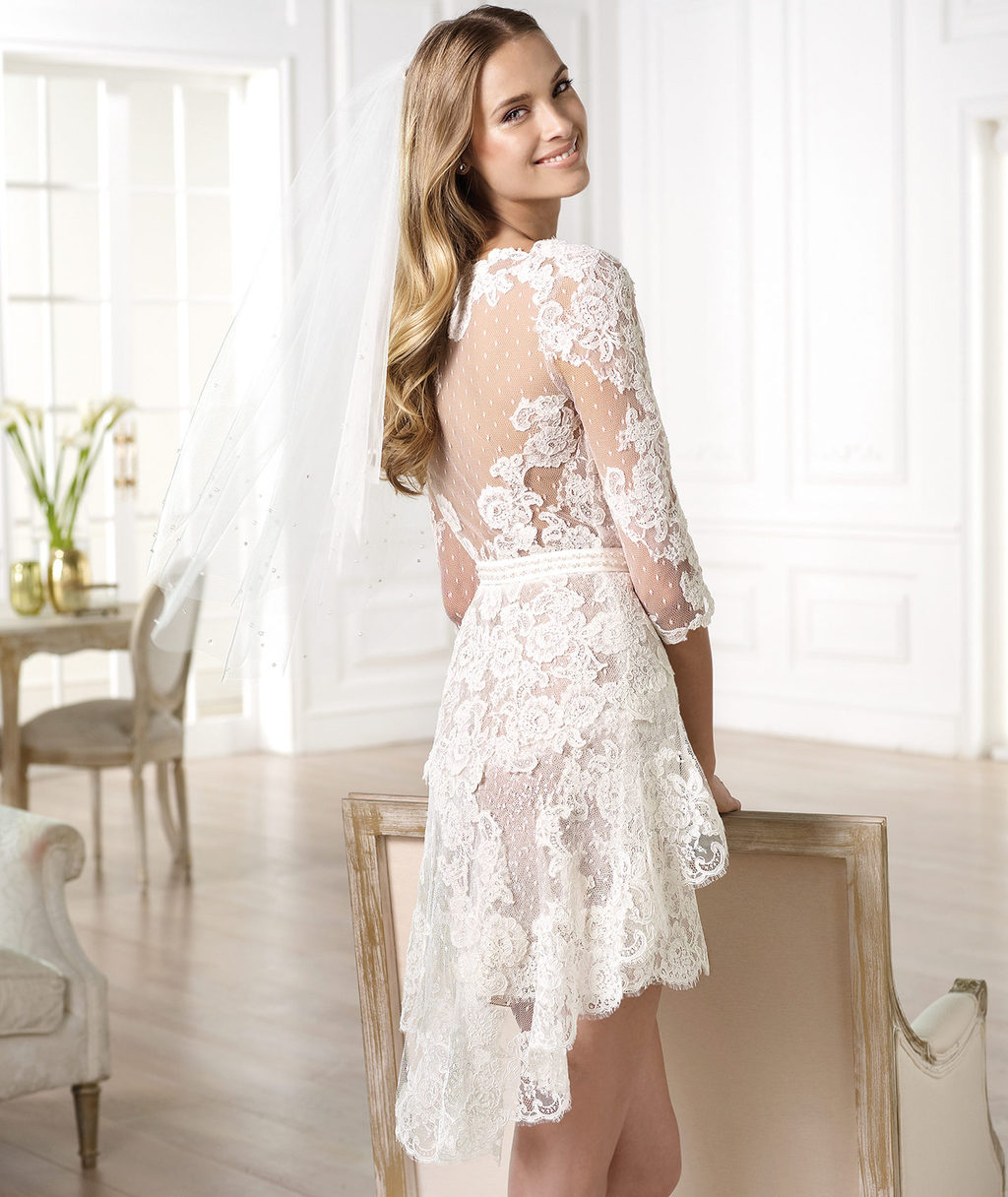 Ivory Lace Short Wedding Dresses 2014