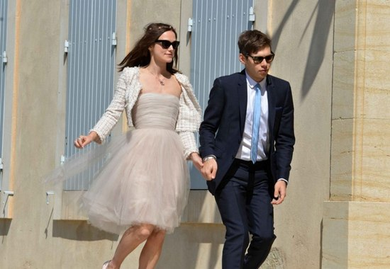 Celebrity bride style Keira Knightley in knee length tulle frock