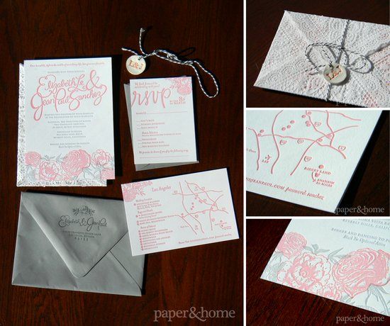 Whimsical Romantic Letterpress Wedding Invitation Suite