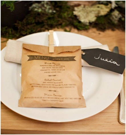 Menu printed on a paper bag with favor inside