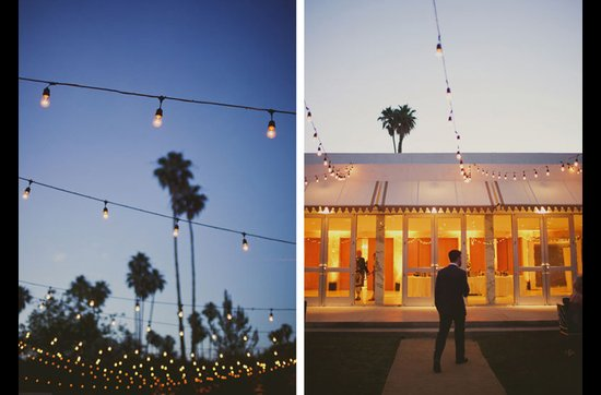 Retro real California wedding with sparkling lights