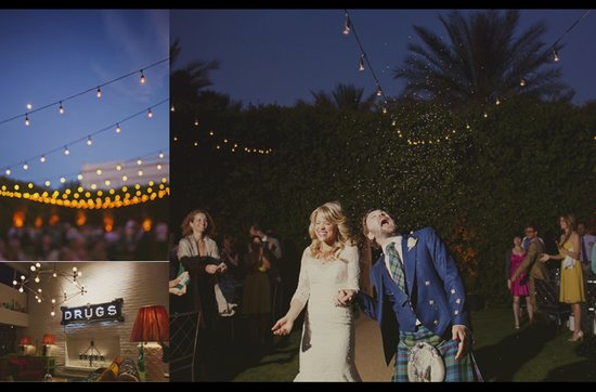Retro California wedding reception