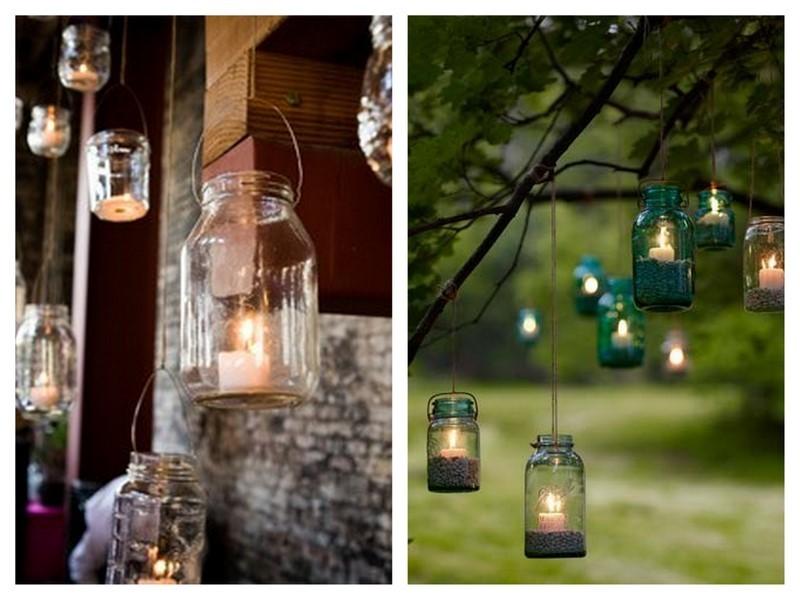 Rustic outdoor wedding decor using mason jars junglespirit Gallery