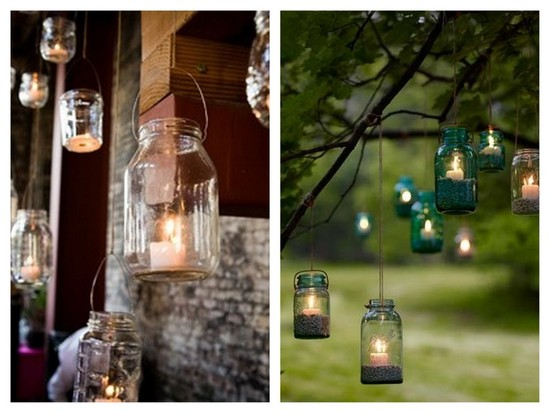 Rustic outdoor wedding decor using mason jars