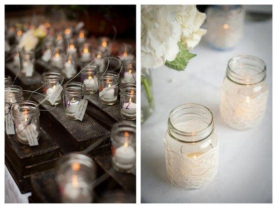 Wedding reception luminaries using mason jars
