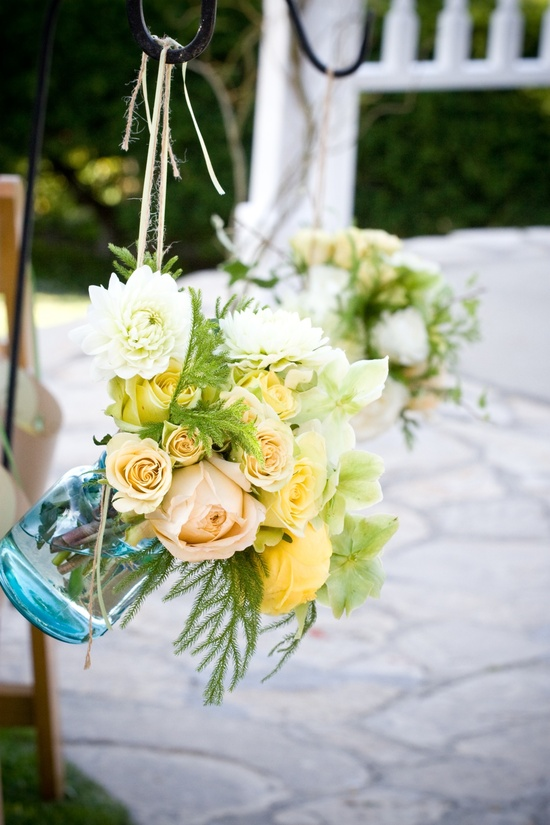 Mason jar wedding ceremony arrangements