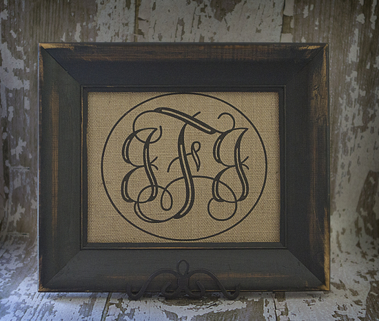 triple monogram with border