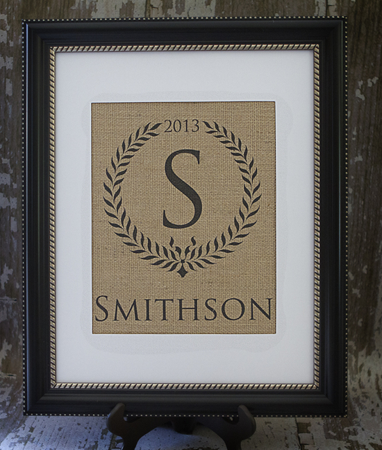 Wreath, Personalized Burlap