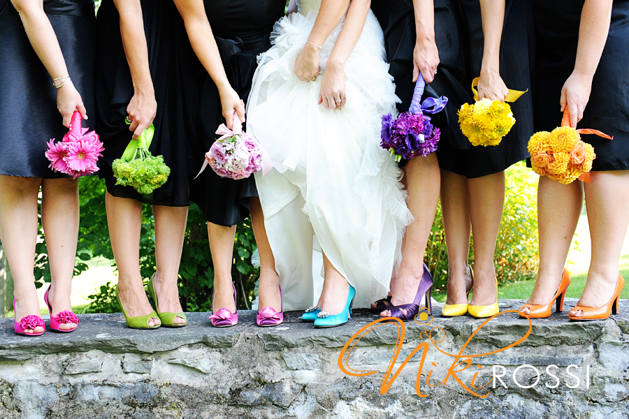 Bridesmaids-wear-mix-and-match-shoes-in-bright-colors.full