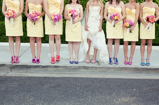bright mix and match shoes for bridesmaids