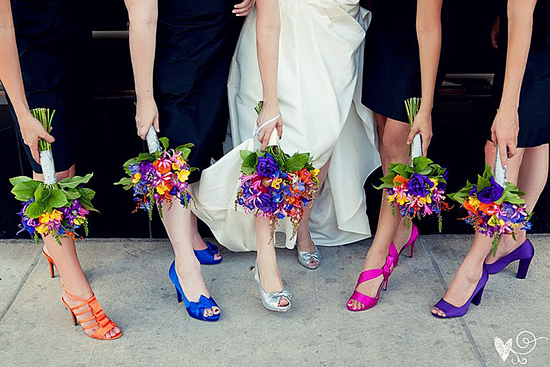 Bright orange blue purple bridesmaid shoes