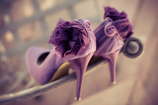 photo of Romantic purple wedding shoes
