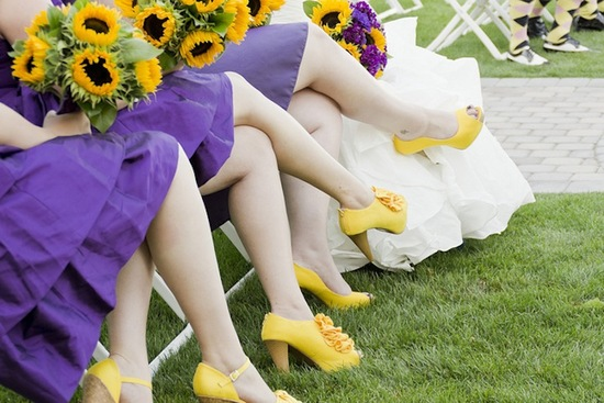 bright yellow bridesmaid shoes with purple dresses