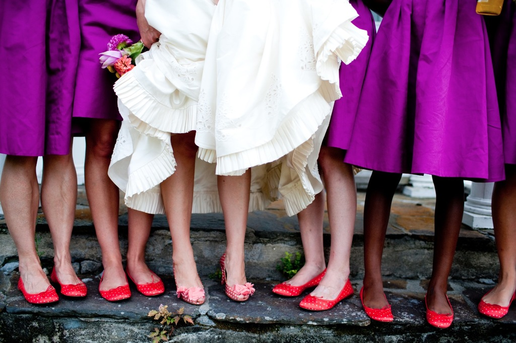bright red ballet flats for bridesmaids