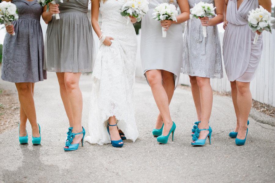 Gray-bridesmaid-dresses-with-bright-aqua-shoes.full