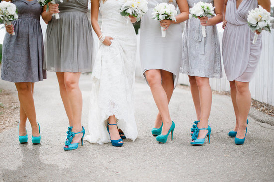 Gray bridesmaid dresses with bright aqua shoes