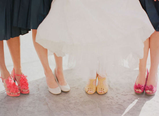Bright bridesmaids shoes in coral yellow and pink