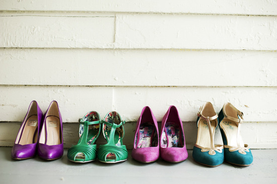 Bright purple green aqua bridesmaid shoes