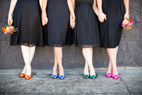 Black bridesmaid dresses with bright mix and match shoes
