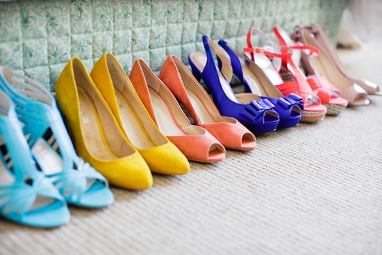 colorful bridesmaids shoes for mix and match style