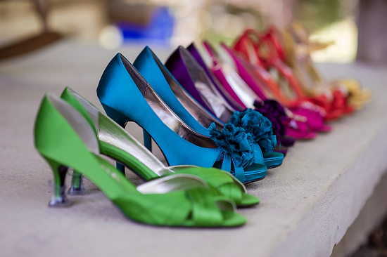 Bright mix and match Nina bridesmaid shoes